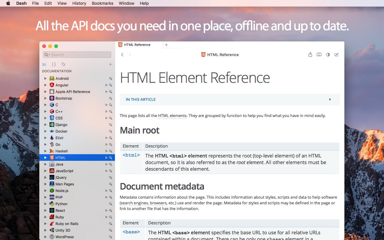 Dash for macOS - API Documentation Browser, Snippet Manager - Kapeli